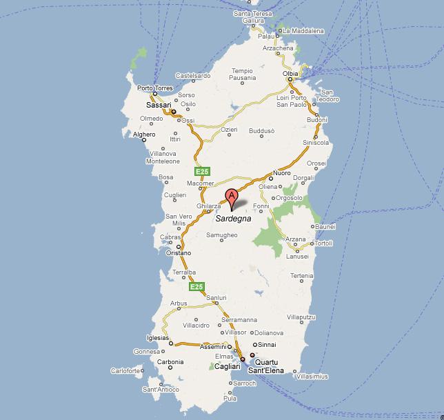 Mapa de Cerdeña