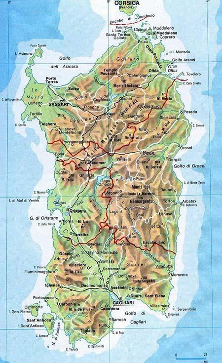 Mapa físico de Cerdeña