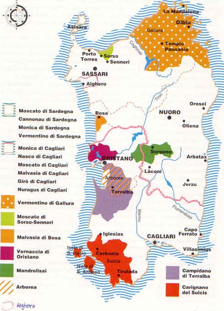 Mapa de regiones de vino de Cerdeña
