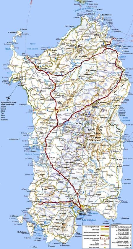 Mapa de carreteras y autopistas de Cerdeña