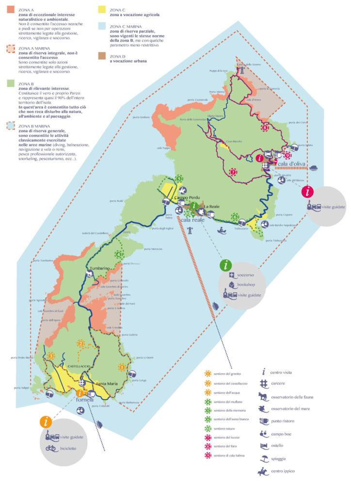 Mapa de la Reserva Natural en la Isla de Asinara