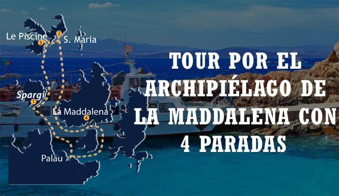 Paradas del Tour en barco por la Maddalena
