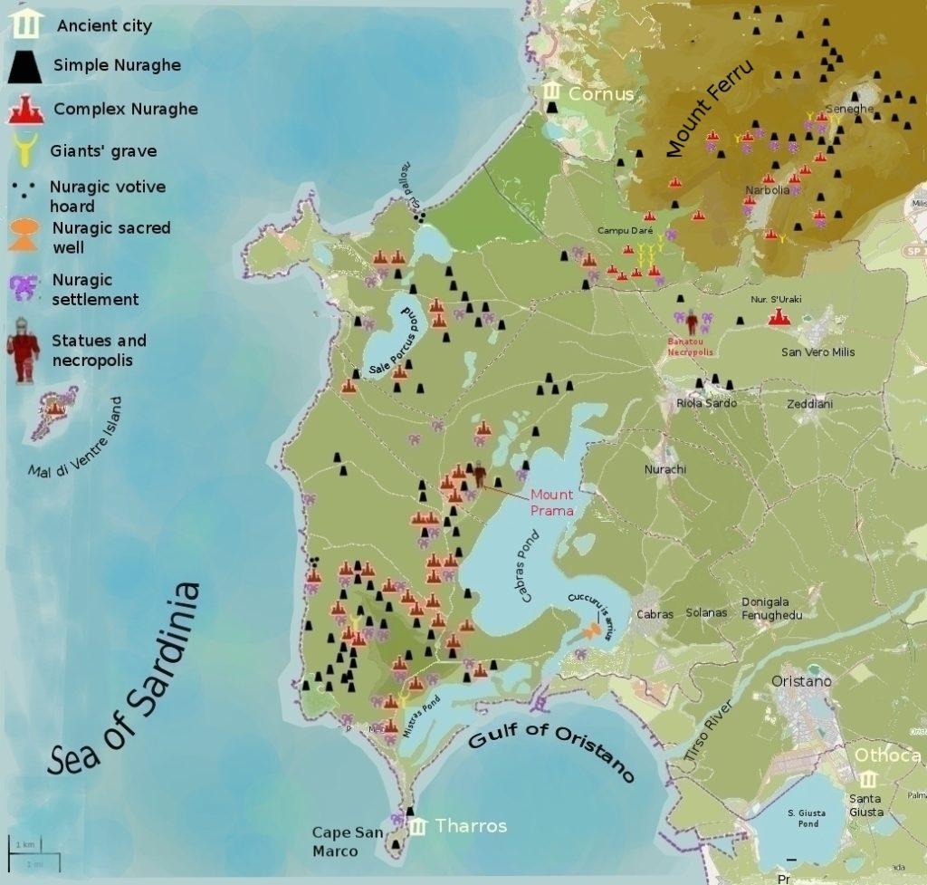 Mapa de la península del Sinis