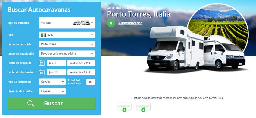 Buscador de alquiler de autocaravana en Cerdeña: Olbia, Cagliari, Alghero, Porto Torres