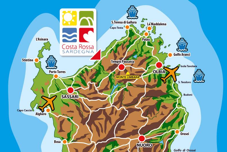 Mapa y localización de la Costa Rossa en Cerdeña