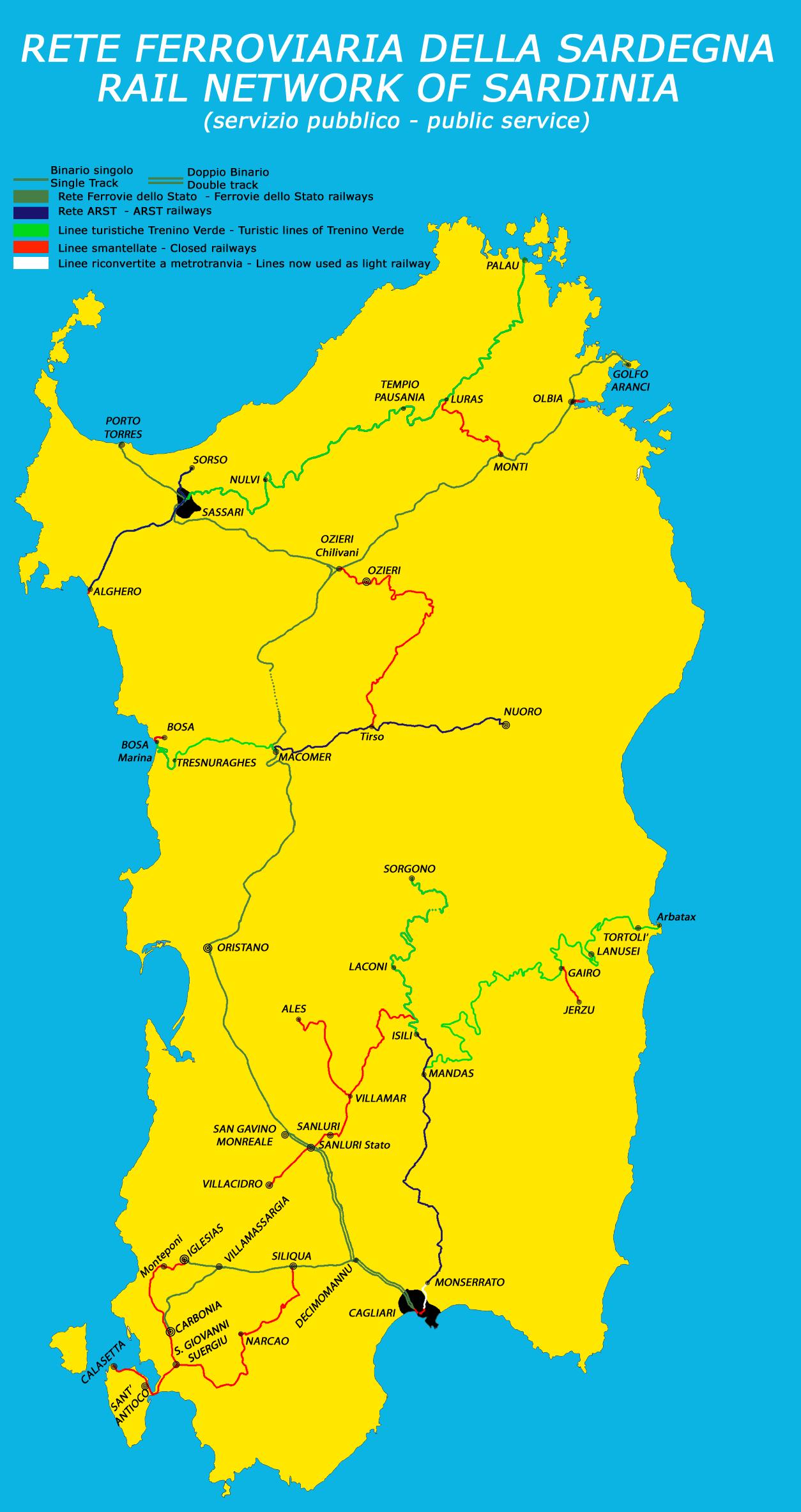 Mapa de trenes de Cerdeña