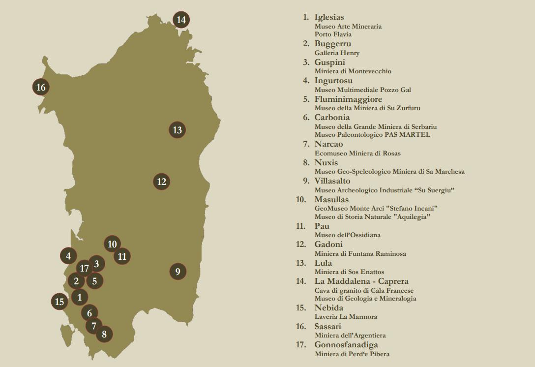 Puntos relevantes del Parque Geominero de Cerdeña